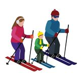 Isometric isolated happy family skiing. Cross country skiing, winter sport. Olimpic games, recreation lifestyle Royalty Free Stock Photos