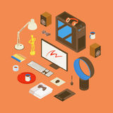 Isometric items from the digital artist workplace Royalty Free Stock Photos