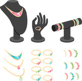 Isometric jewelry display. Mannequins set vector illustration royalty free illustration