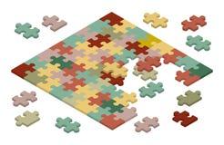 Isometric jigsaw puzzle Royalty Free Stock Photo