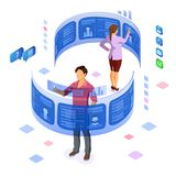 Isometric Job Agency Employment and Hiring Concept vector illustration