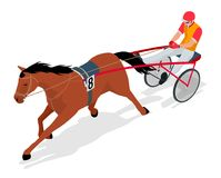 Isometric Jockey and horse. Racing horse competing. Race in harness with a sulky or racing bike. Vector illustration. Isometric Jockey and horse. Racing horse Royalty Free Stock Photo