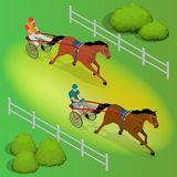 Isometric Jockey and horse. Two racing horses competing with each other. Race in harness with a sulky or racing bike. Vector illustration. Equestrian sport Stock Images