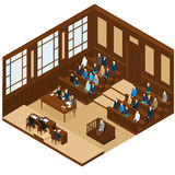 Isometric Judicial Session Room Template Royalty Free Stock Photo