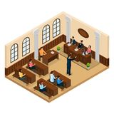 Isometric Judicial System Concept. With lawyer defending his client in courtroom isolated vector illustration Stock Photography