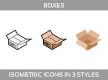 Isometric karton pakuje pudełka ustawia w trzy stylach z pocztowymi znakami up ten stronę Obrazy Royalty Free