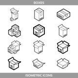 Isometric karton pakuje pudełka ustawiających w kreskowej sztuki stylu z pocztowymi znakami ten strona w górę kruchego wektoru Zdjęcie Royalty Free