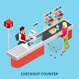 Isometric kasa kontuar Kobieta płaci z kredytową kartą sprzedawca w supermarkecie Ilości usługa i Obraz Royalty Free