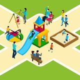 Isometric Kids Playground. With happy families and children playing vector illustration Stock Photo