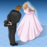 Isometric Kissing Wedding Couple Stock Photos
