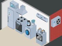 Isometric Kitchen Appliances. Major household Stock Photos