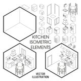 Isometric kitchen interior constructor. Vector set of isometric Furniture elements of home interior isolated on white. Background. Flat 3d design template Stock Image