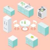 Isometric kitchen. Light pastel turquoise kitchen furniture design set vector illustration