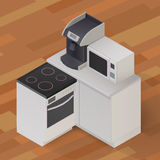 Isometric kitchen stuff  illustration. Isometric Stove cooker oven, microwave coffee-maker, kitchenware on wooden floor background  illustration Royalty Free Stock Photography