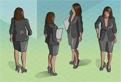 Isometric kobiety sekretarki pozycja Zdjęcie Royalty Free