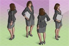 Isometric kobiety sekretarki pozycja Zdjęcie Stock