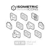 Isometric kontur ikony ustawiają 30 ilustracja wektor