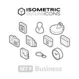 Isometric kontur ikony ustawiają 9 Zdjęcia Stock