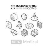 Isometric kontur ikony ustawiają 17 Ilustracji
