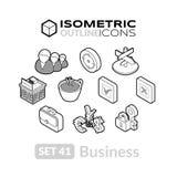 Isometric kontur ikony ustawiają 41 Zdjęcia Stock