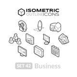 Isometric kontur ikony ustawiają 42 Zdjęcia Stock