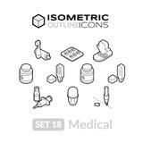 Isometric kontur ikony ustawiają 18 Obrazy Royalty Free