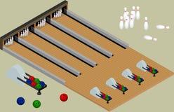 Isometric kręgle centrum Kręgle piłki, kręgle, pasy ruchu odizolowywają royalty ilustracja