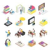 Isometric książka set Czytelnicze książki, podręczniki dla studenckiego uczenie i ebooks ikony, Podręcznik dla studentów collegu  ilustracja wektor
