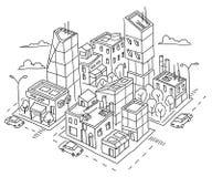 Isometric kwartalny duży miasta nakreślenie Drapacze chmur i wieżowowie Domowy architektury centrum miasta Ręka rysujący czerń Obraz Royalty Free