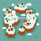 Isometric landscape of cartoon village stock illustration