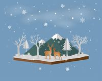 Isometric landscape with deer family in winter snow and mountain Stock Image