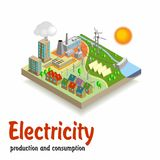 Isometric landscape.Electricity. Royalty Free Stock Photos