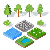Isometric landscape elements. Bushes and trees, water, grass.  Royalty Free Stock Photos