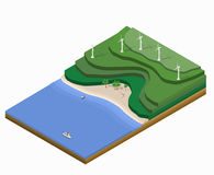 Isometric landscape Stock Images