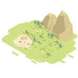 Isometric landscape with mountains. Isometric flat landscape with mountains and camping tent next to the fire. Camp in the middle of the forrest vector Royalty Free Stock Images