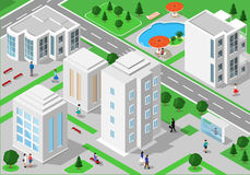 Isometric landscape with people, city buildings, roads, parks, hotels and swimming pool. Set of detailed city buildings. 3d isomet. Ric people. Vector Stock Images