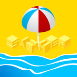 Isometric landscape. With the sea and the word summer in the sand on the beach. 3d style. Vector Illustration Stock Image
