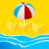 Isometric landscape with the sea. And the word summer in the sand on the beach. 3d style. Vector Illustration Stock Photo
