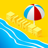 Isometric landscape with the sea. And the word summer in the sand on the beach. 3d style. Vector Illustration Stock Image