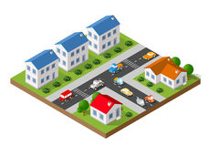 Isometric landscape of a small town Stock Photography