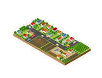 Isometric landscape of a small town Stock Image