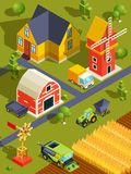 Isometric landscape of village or farm with various buildings and agricultural machines. Farmland countryside ranch with isometric house and machine. Vector Stock Image