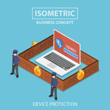 Isometric laptop computer protected by security system. Isometric 3d flat laptop computer protected by firewall, guard and password security system, internet Royalty Free Stock Photography