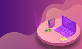 Isometric laptop connected with wallet and stack of coins on abs stock illustration