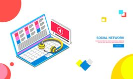 Isometric laptop with headphone and video play window on abstrac. T background for Social Networking web template design stock illustration