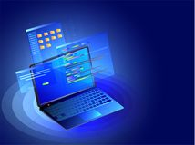 Isometric laptop with multiple screens on shiny blue abstract ba Royalty Free Stock Photography