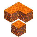 Isometric lava cube. Isometric vector lava cube with seamless texture royalty free illustration