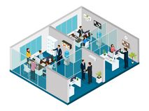 Isometric Law Firm Concept. With interior elements office workers lawyers and clients isolated vector illustration Royalty Free Stock Photo