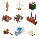 Isometric Law and Justice. Symbols of legal regulations. Juridical icons set. Legal juridical, tribunal and judgment. Law and gavel, vector illustration Royalty Free Stock Image