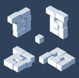 Isometric letter B drawn with 3d block cubes. Isometric letter B drawn with 3d block cubes Stock Photography